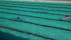 Athletic breast stroke swimmer competition Stock Footage
