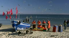 Fishermen on the Beach in Baabe on Rügen Island - Baltic Sea, Northern Germany Stock Footage