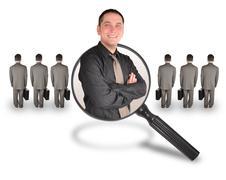 Työ työntekijä mies ehdokkaiden löytämiseksi. Työpaikan työntekijä mies ehdokas Kuvituskuvat