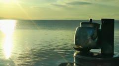 Tea Urn near the Seaside Stock Footage