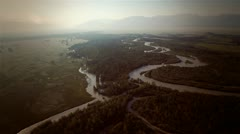 flight over mountain river - stock footage