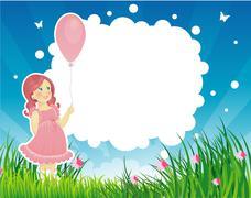 summer backgraund with little girl - stock illustration