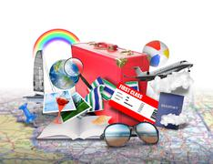 beach vacation travel suitcase icons - stock photo