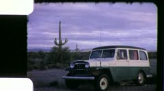 Willys Jeep Station Wagon 1960s Vintage Retro Film Home Movie 6024 Stock Footage