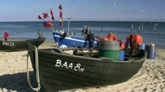 Fishermen on Baabe Beach on Rügen Island - Baltic Sea, Germany Stock Footage