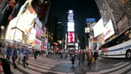 Stock Video Footage of Times Square FIsh EYe