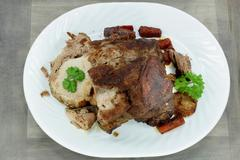 Roasted pork meat. - stock photo