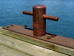 Manually manufactured welded mooring station. - stock photo