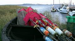 Little Harbour with Fishing Boats on Mönchgut Peninsula - Baltic Sea, Germany Stock Footage