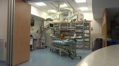 Trauma room in emergency room in hospital Stock Footage
