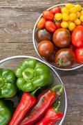 Tomatoes and pepper Stock Photos
