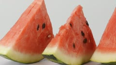 Slices of watermelon Stock Footage