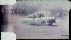 TEEN PUNKS Gang Joyride Stolen Car Spins Out 1950s Vintage Film Home Movie 6038 Stock Footage