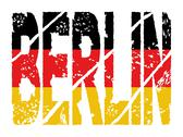 Grunge berlin text with flag Stock Illustration