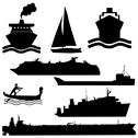 Stock Illustration of assorted boat silhouettes