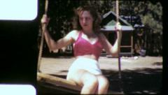PRETTY GIRL On A Swing Young Woman 1940s Vintage Film Home Movie 6045 Stock Footage