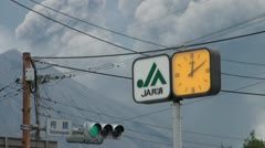 Sakurajima volcano erupting in Southern Japan, traffic lights, scene Stock Footage