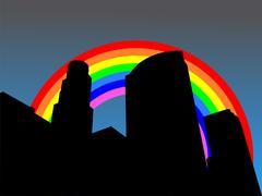 los angeles skyline with rainbow - stock illustration