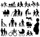 Assorted family silhouettes Stock Illustration