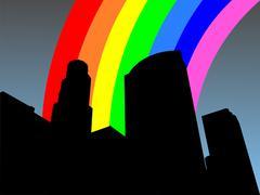 los angeles skyline and rainbow - stock illustration