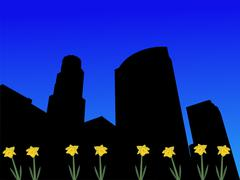 Los angeles skyline in spring Stock Illustration