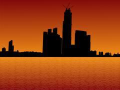 Kowloon skyline at sunset Stock Illustration