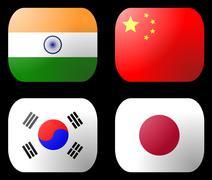 China india japan korea flag Stock Illustration