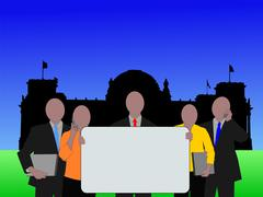 Business team and german parliament Stock Illustration