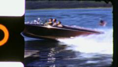 Kris-craft Speedboat SPEEDS BY Dock 1950s Vintage 8mm Film Home Movie 6050 Stock Footage