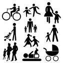 Stock Illustration of assorted family silhouettes