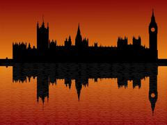 Houses of parliament london at sunset Stock Illustration