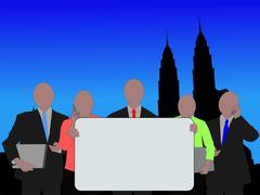 business team and petronas towers - stock illustration