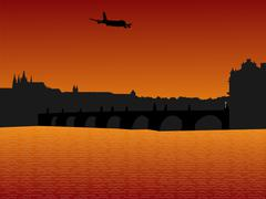 Stock Illustration of plane arriving in prague