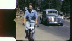 MAN RIDES BIKE Bicycle Cycling Fitness 1940s Vintage 8mm Film Home Movie 6054 Stock Footage