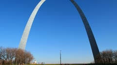 Hyperlapse Arch Step Time-Lapse with Barren Trees and a Pure Blue Sky HD Stock Footage