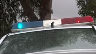 Stock Video Footage of police car red and blue light