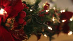 Christmas Garland Decoration Lights with Bokeh 1080p Stock Footage