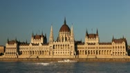 Stock Video Footage of Hungarian Parliament Building, Street View of Budapest, Danube River