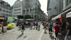 City crowd of people in Lucerne Switzerland Stock Footage