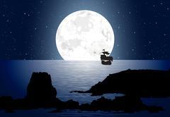 Moonlight With Sailboat Stock Illustration
