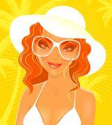 summer woman in swimsuit - stock illustration