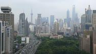 Time Lapse Establishing Shot Shanghai Aerial View Air Pollution Car Traffic Jam Stock Footage