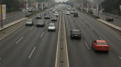 Air Pollution and Huge Traffic in Beijing, China, Big City Car Traffic Jam Stock Footage