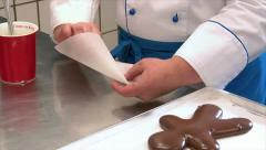 German confectioner build parchment paper pastry tube 10786 Stock Footage