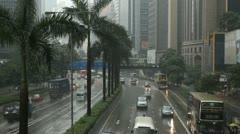 Heavy Rainy Day, Hong Kong City, Rainy, Big Storm, Car Traffic, Commuters Stock Footage