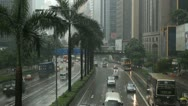Stock Video Footage of Heavy Rainy Day, Hong Kong City, Rainy, Big Storm, Car Traffic, Commuters