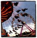 Stock Photo of Amusement Park Rides at a Fair