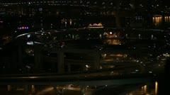 Night Aerial View of Shanghai, China, Nanpu Bridge Interchange, Huangpu River Stock Footage