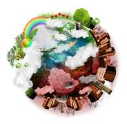 clean air and polluted earth mix - stock photo