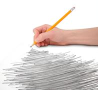 hand with pencil scribble - stock illustration